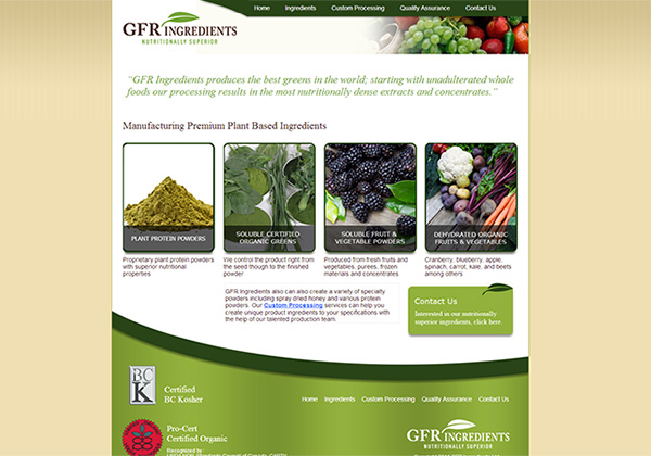 GFR Ingredients web design and development