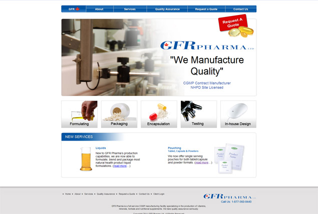 GFR Pharma web design and development