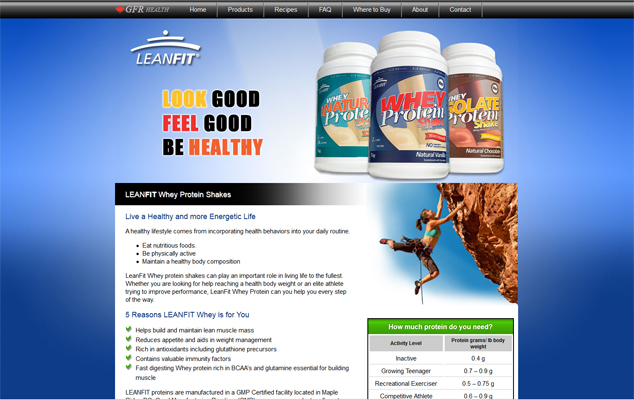 LeanFit web design and development